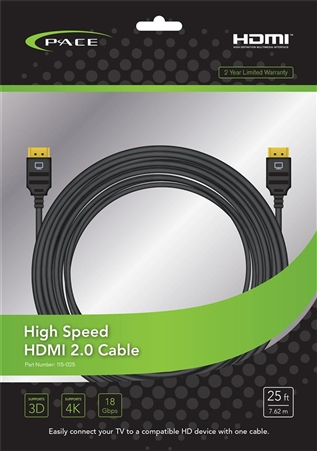Pace International 115-025 High Speed HDMI 2.0 Cable - 25'