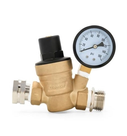 Camco 40058 RV Adjustable Water Pressure Regulator - Brass