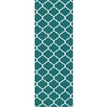 Ruggable 148255 Moroccan Trellis Teal 2-1/2' x 7' Indoor/Outdoor Area Rug