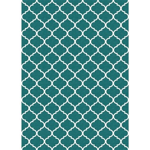 Ruggable 148306 Moroccan Trellis Teal 5' x 7' Indoor/Outdoor Area Rug