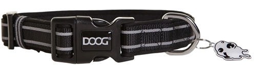 "Doog COLBFLS-S Lassie Pet Collar - 9-13"" - Black/Gray Stripes"