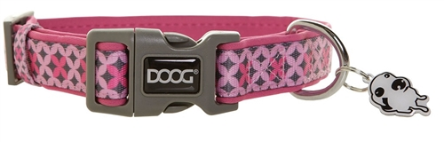 "Doog COLPBS-M Toto Pet Collar - 12-18"" - Pink/Gray"