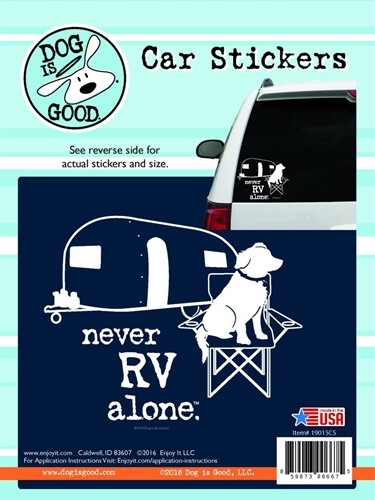 Enjoy It 19015CS Dog Is Good Never RV Alone Vinyl Decal - 8 Pack