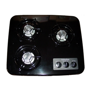 Suburban 3 Burner, Drop-In Cooktop - Black