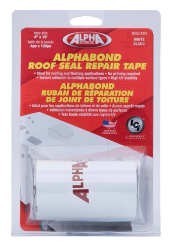 "Alpha Systems 862410 Alphabond RV Roof Seal Repair Tape - White - 4"" x 10 Ft"