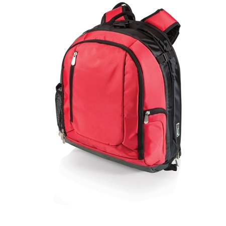 Picnic Time PT-Navigator Backpack Cooler and Portable Seat - Red with Black