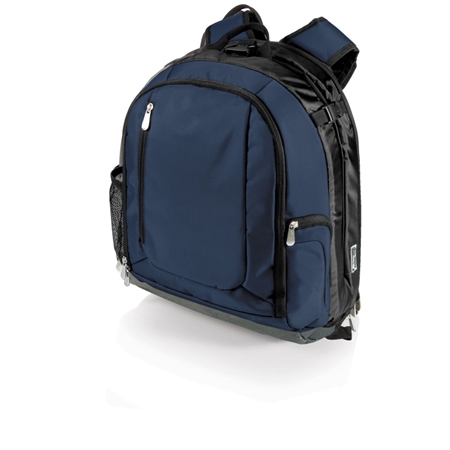 Picnic Time PT-Navigator Backpack Cooler and Portable Seat - Navy with Black