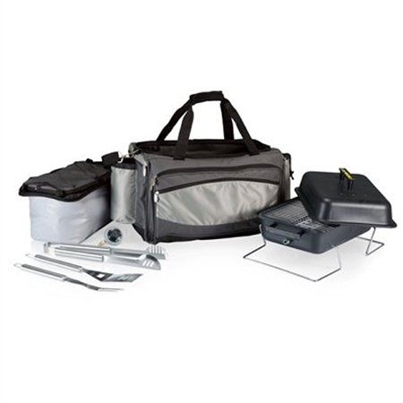 Picnic Time Vulcan Portable BBQ and Cooler Tote - Black with Grey and Silver