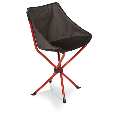 Picnic Time PT-Odyssey Portable Chair - Grey with Red