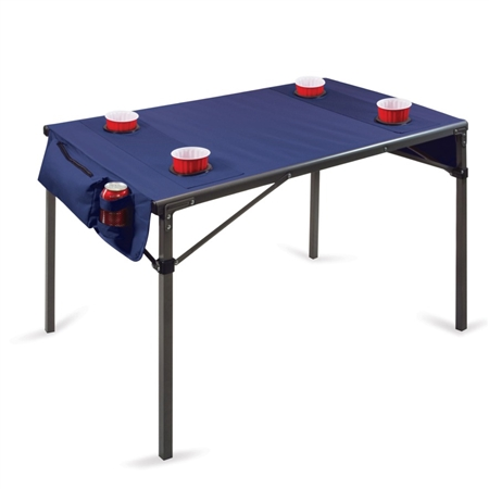 Picnic Time Travel Portable Folding Table - Navy with Gunmetal Grey Frame