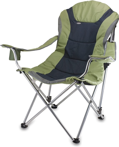 Picnic Time Reclining Camp Chair - Sage Green and Dark Grey