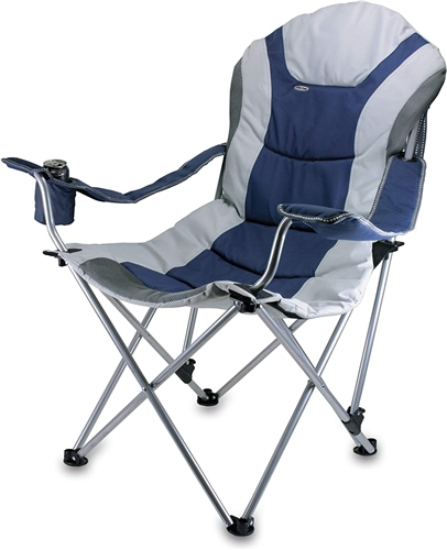 Picnic Time Reclining Camp Chair - Navy and Silver Grey