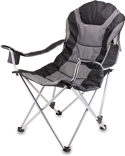 Picnic Time Reclining Camp Chair - Black and Grey
