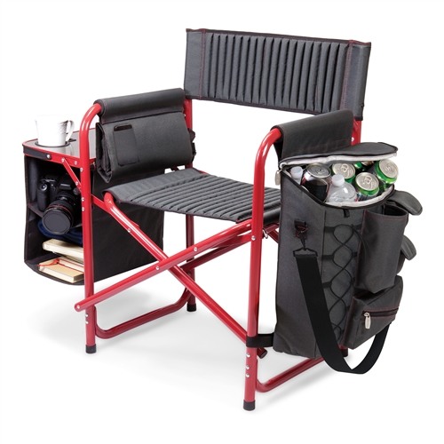 Picnic Time Fusion Chair - Dark Grey with Red
