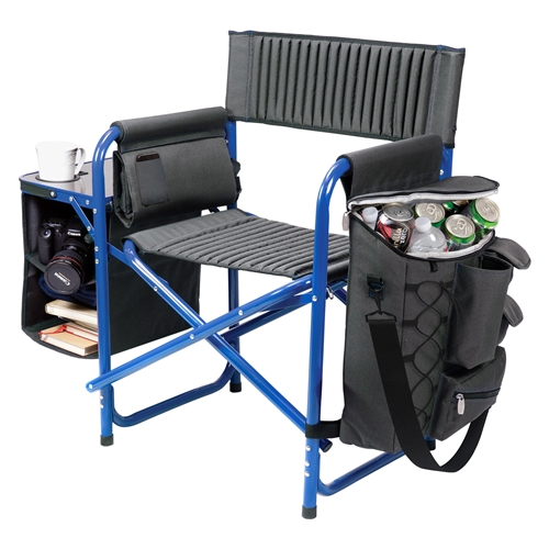 Picnic Time Fusion Chair - Dark Grey with Blue