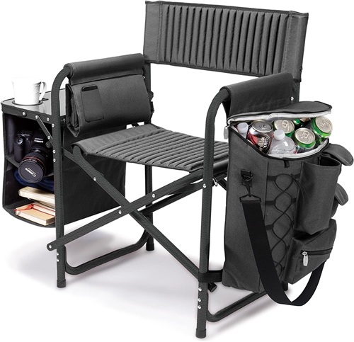 Picnic Time Fusion Chair - Dark Grey with Black