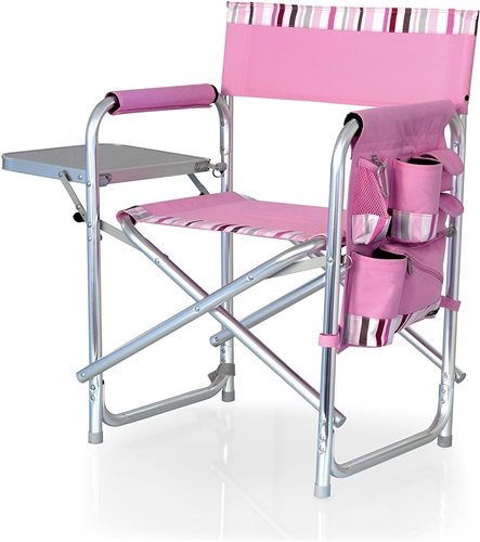 Picnic Time Sports Chair - Pink with Stripes