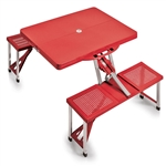 Picnic Time Portable Picnic Table and Seats - Red