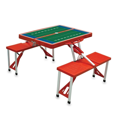 SPORT Portable Table and Seats - Red with Football Field
