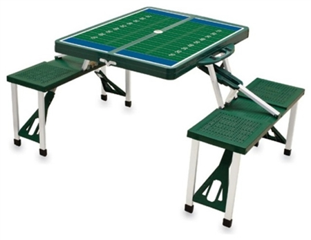 Picnic Time SPORT Portable Table and Seats - Hunter Green with Football Field