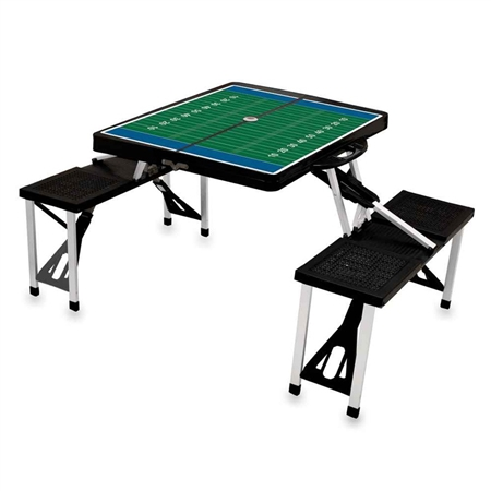 Picnic Time SPORT Portable Picnic Table - Black with Football Field