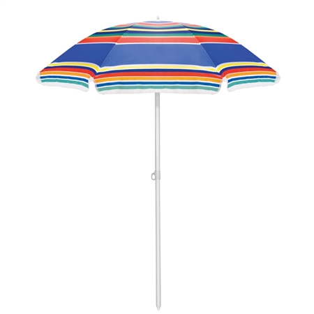 Picnic Time Portable Beach Umbrella - Multi-color Stripe
