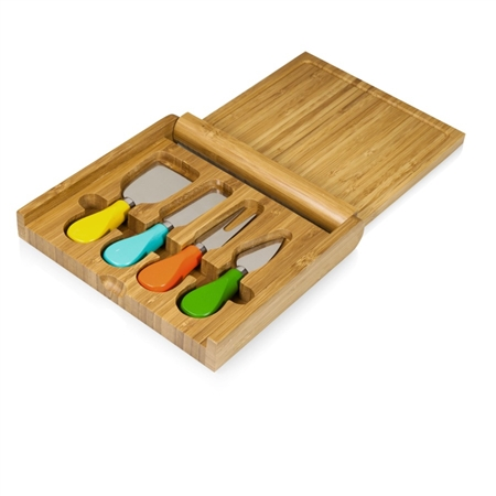 Picnic Time Carnaval Folding Cheese Board and Tools Set - Bamboo