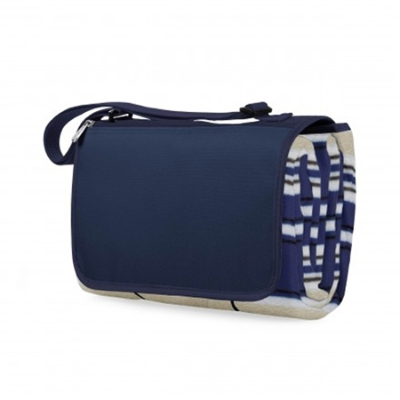 Picnic Time Blanket Tote - Blue Stripes/Navy