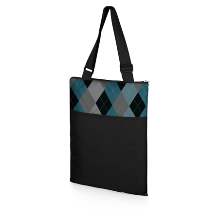 Picnic Time Vista Outdoor Blanket - Black with Blue Argyle