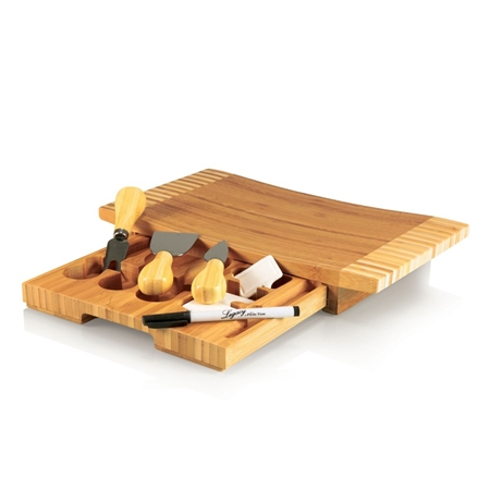 Picnic Time Concavo Cutting Board and Cheese Tools Set - Bamboo