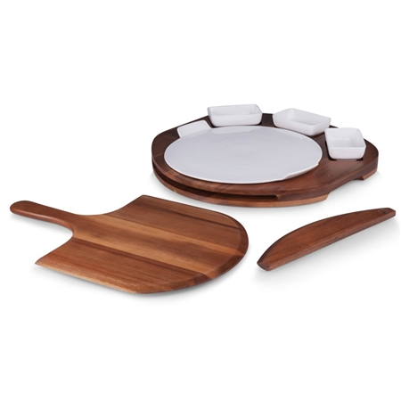 Picnic Time Pizza Prep Station Fully-Outfitted Set - Acacia