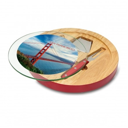 Picnic Time Ventana Cheese Board and Serving Tray Set - Rubberwood/Red