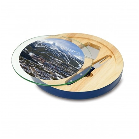 Picnic Time Ventana Cheese Board and Serving Tray Set - Rubberwood/Navy