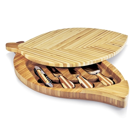 Picnic Time Leaf Cheese Board and Cheese Tools Set - Bamboo