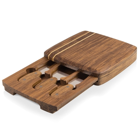 Picnic Time Cordova Cutting Board and Tools Set - Crushed Bamboo