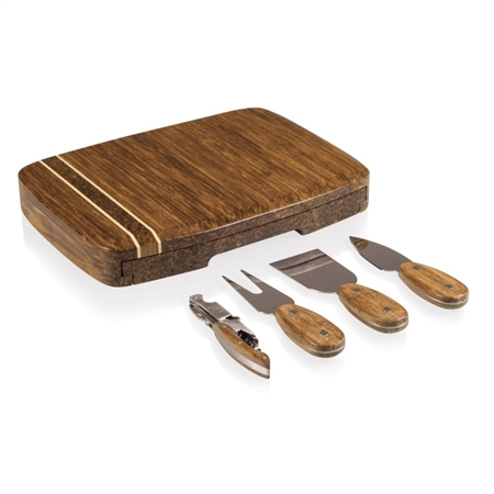 Picnic Time Verano Cutting Board and Tools Set - Crushed Bamboo