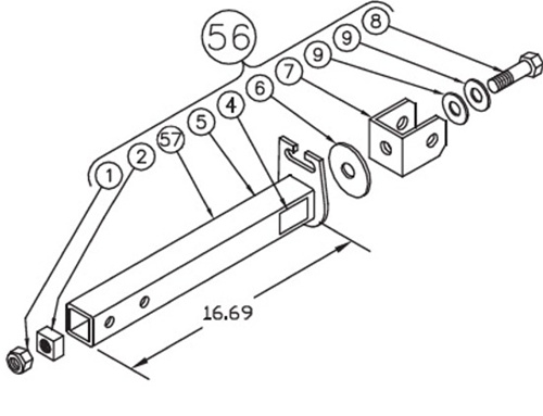 Blue Ox 84-0047 Long Towbar Hitch Assembly