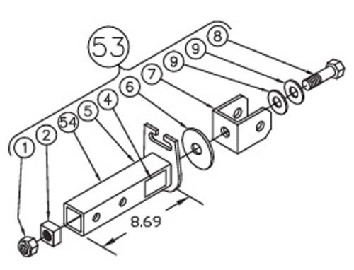 Blue Ox 84 0051 Towbar Short Hitch Assembly