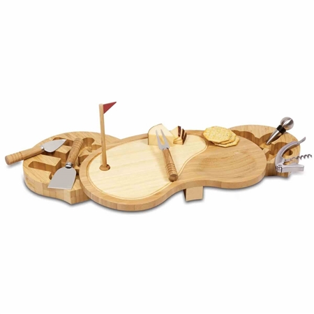 Picnic Time 906-00-505-000-0 Sand Trap Cheese Board and Tools Set - Bamboo