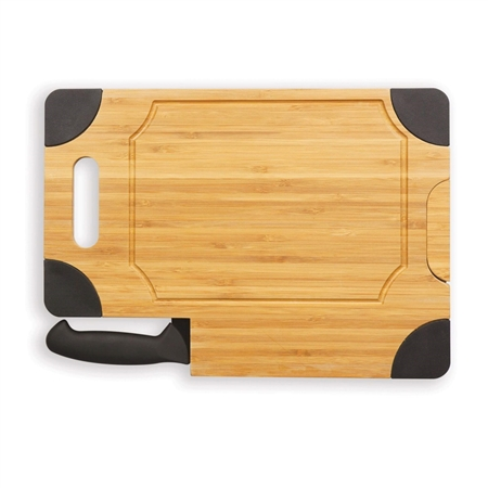 Picnic Time 917-00-179-000-0 Culina Cutting Board and Knife Set - Bamboo with Black Accents