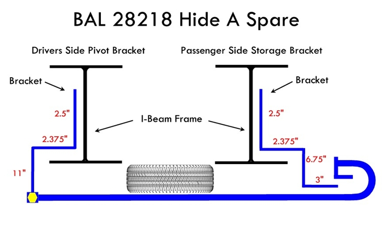 Bal 28218 Hide A Spare 68 Quot 75 Quot I Beam Frame Underslung Mount
