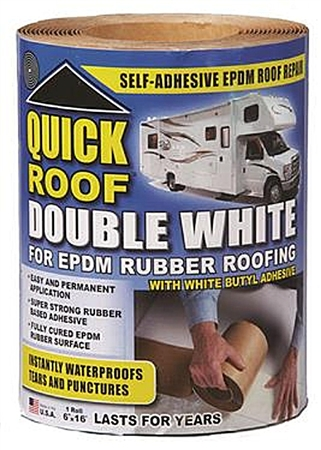 "CoFair Products Quick Roof Double White Roof Repair Tape - 6"" x 16'"