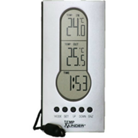 Minder Research Indoor/Outdoor Thermometer With Clock & Wired Temperature Probe