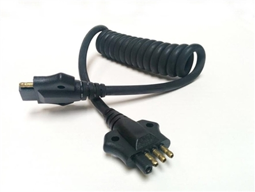 JetConnex 12575-05 Black Coiled Cable 4  Flat Male To 4  Flat Female 3'