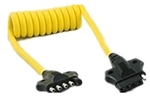 HitchCoil 95-12576-02 5-Way Flat Male To 5-Way Flat Female Coiled Cable - 3 Ft - Yellow
