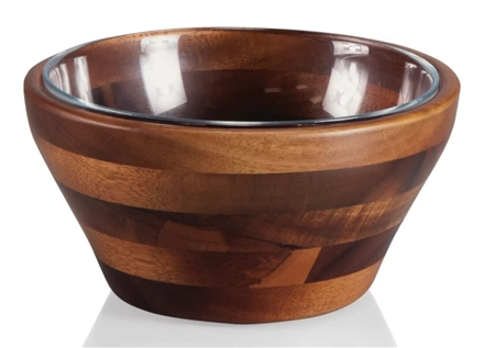Picnic Time 967-03-506-000-9 Carovana Nested Set-One Wood and One Glass Bowl, 1-1/2 Pt. - Acacia
