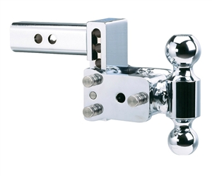 "B&W TS10037C Tow & Stow Chrome Dual-Ball Trailer Hitch Mount - 5"" Drop"