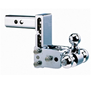 "B&W TS10048C Tow & Stow Chrome Tri-Ball Trailer Hitch Mount - 5"" Drop"