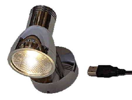 FriLight Dane 12V LED Light With Dimmer & USB Port - Chrome