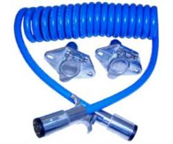 Blue Ox BX8861 4 Way Round To 4 Way Round Plugs With 6' Coiled Electrical Cable - Includes Sockets